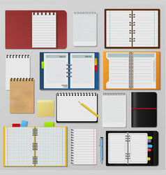 Set of open realistic notebooks clean pages diary vector