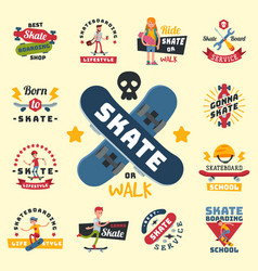 Skateboarders people tricks silhouettes sport vector
