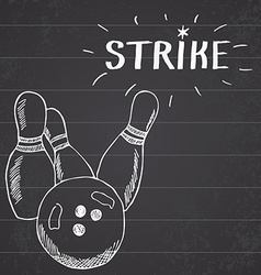 Sport bowling ball and pins hand drawn sketch vector