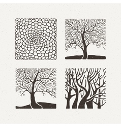Square trees set Pattern vector