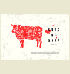Stock beef cuts diagram vector