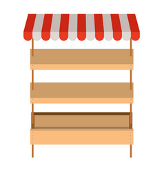 Supermarket shelves empty with three levels and vector