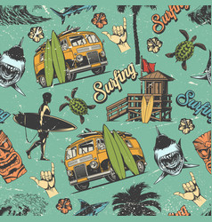 Surfing vintage colorful seamless pattern vector