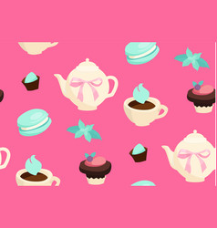 sweets seamless pattern cafe and candy shop vector image