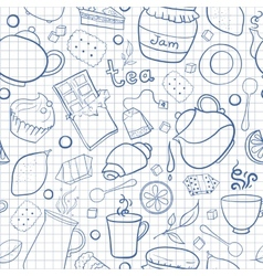 Tea and sweets seamless pattern on exercise book vector image