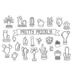 Thin line cactus and succulent clipart vector