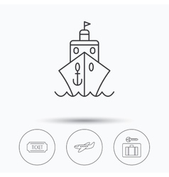 Ticket cruise ship and airplane icons vector image