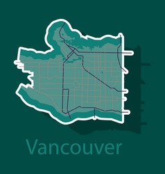 Vancouver city plan detailed sticker map vector