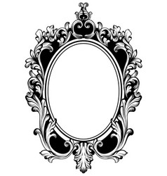 Vintage round frame decor baroque antique vector