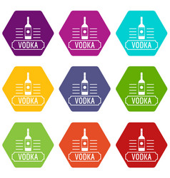 vodka icons set 9 vector image