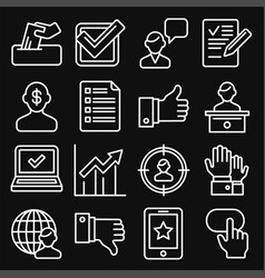 vote icons set on black background line style vector image