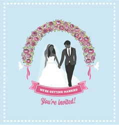Wedding invitation flower arch vector