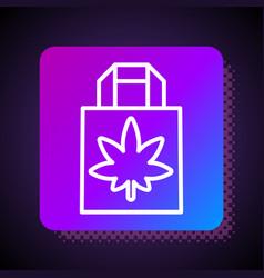 white line shopping paper bag medical marijuana vector image