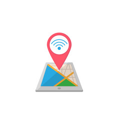Wi-fi zone map pointer flat icon mobile gps vector