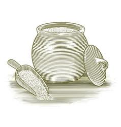 Woodcut flour canister vector