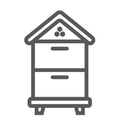wooden beehive line icon farming vector image