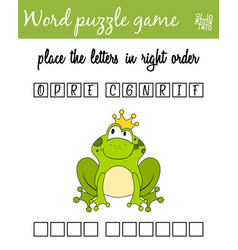Words puzzle game with frog prince place the vector