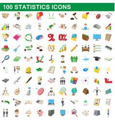 100 statistics icons set cartoon style vector image