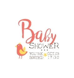 Baby shower invitation design template with bird vector