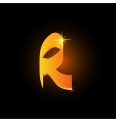 Golden arabic style letter r shiny latin alphabet vector