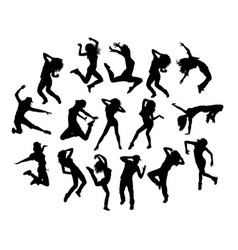 hip hop jumping silhouettes vector image