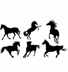 horse silhouette collection vector image