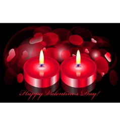 romantic background with two candles vector image vector image