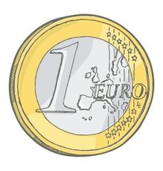 1euro coin sketch vector image vector image