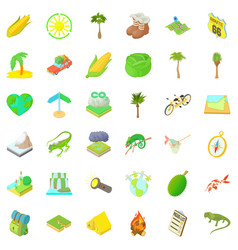 camping and nature icons set cartoon style vector image