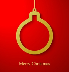 Christmas gold ball applique on red background vector image vector image