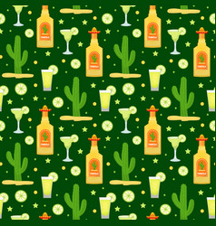 cinco de mayo seamless pattern with tequila and vector image