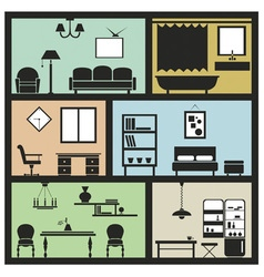interior furniture icons vector image vector image