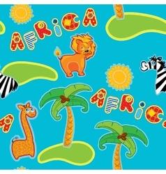 Seamless pattern with cartoon animals - giraffe vector