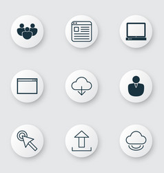 set of 9 online connection icons includes save vector image