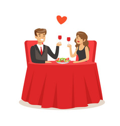 happy elegant couple sitting in a cafe man and vector image