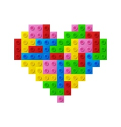 Heart from plastic toy blocks vector image vector image