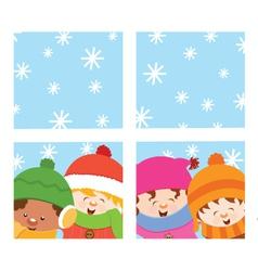 Kids Looking Through Window vector image vector image