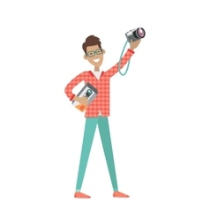 Man with Loud Speaker and Photo Camera Sale Price vector image vector image