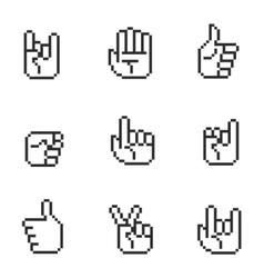 Pixel art 8 bit hands icons and gestures signs set vector image