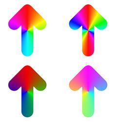 Rounded gradient rainbow arrow icon design set vector image vector image
