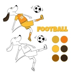 The ridiculous comical dog plays soccer The vector image vector image