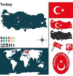 Turkey map world vector image vector image