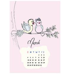birds on the branch calendar march 2018 vector image