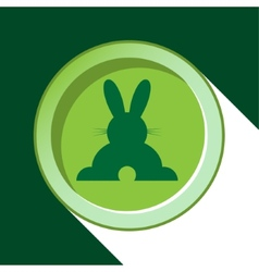 button with dark green back Easter bunny and vector image