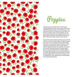 red poppy flowers border template for flyer vector image