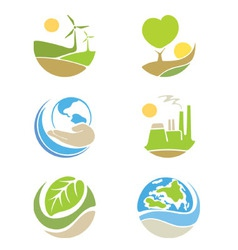 The logos on the theme ecology vector image vector image