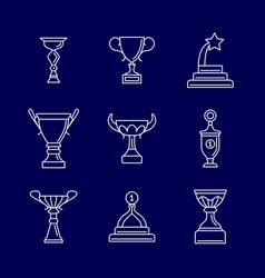trophy cup thin line icons linear podium award vector image