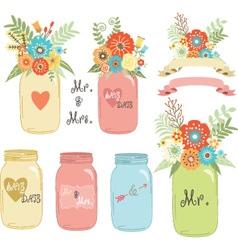 Wedding flower Mason Jar vector image