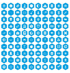 100 astronomy icons set blue vector