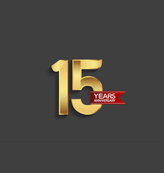 15 years anniversary simple design with golden vector